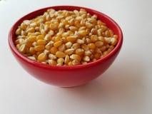 As grões inteiras estudam - a bacia de núcleos de milho unpopped na bacia vermelha, vista do lado no close up imagem de stock royalty free