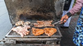 As grades da carne de carne de porco barbecue fotos de stock royalty free