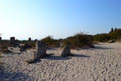 As grandes pedras dispersaram na areia em uma manhã quente do verão fotos de stock