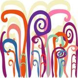 As grandes plantas da cor jardinam um fundo ondulado brilhante ilustração do vetor