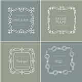 As grinaldas florais do casamento Handdrawn das grinaldas projetam cartões dos convites Imagem de Stock