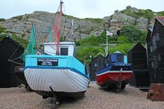 Old fishing boats in Hastings Fisherman`s Museum at Rock-a-Nore, Hastings, East Sussex, England royalty free stock photo