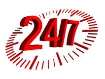 As horas de abertura assinam - 24 horas de dia de 7 Fotografia de Stock