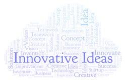 As ideias inovativas exprimem a nuvem, feita com texto somente ilustração stock