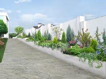 As ideias luxuosas do projeto da arquitetura da vizinhança, 3D rendem ilustração stock