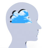 As ideias pensam indicam o conceito e inovações criativos Foto de Stock