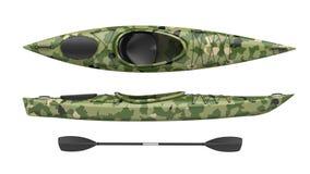 As ideias superiores e laterais do cruzamento verde kayak Caiaque running de Whitewater e de rio 3D rendem, isolado no fundo bran Imagem de Stock
