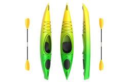 As ideias verticais lisas do cruzamento do verde amarelo kayak com pá Caiaque running de Whitewater e de rio 3D rendem, isolado Imagem de Stock