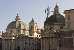 As igrejas gêmeas em Roma Fotografia de Stock