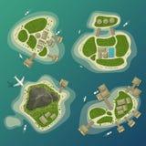 As ilhas tropicais vista superior, curso e turismo assinam ilustração stock