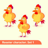 As ilustrações do vetor ajustadas incluem três poses eretas do caráter do galo no estilo engraçado dos desenhos animados Imagens de Stock Royalty Free