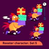As ilustrações do vetor ajustadas incluem três poses running do caráter do galo com as emoções diferentes que carying caixas de p Imagem de Stock Royalty Free