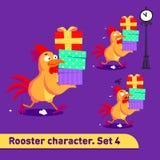 As ilustrações do vetor ajustadas incluem três poses running do caráter do galo com as emoções diferentes que carying caixas de p Fotos de Stock Royalty Free