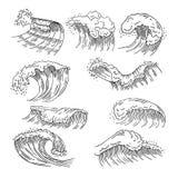 As ilustrações marinhas da água espirram e ondas grandes Imagens tiradas mão do vetor ilustração do vetor