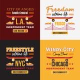 As ilustrações skateboarding do vetor ajustaram-se para a cópia em t-shirt Imagens de Stock Royalty Free