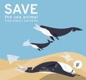 As imagens do vetor refletem problemas sociais atuais, baleias da poluição marinha para comer sacos de plástico e lixo no mar, ca ilustração royalty free