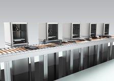 as impressoras 3D arranjaram na linha no fundo cinzento Fotos de Stock