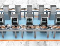 as impressoras 3D arranjaram na linha no fundo cinzento Conceito por encomenda novo da fábrica ilustração do vetor