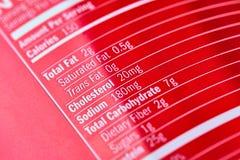As inscrição no plástico vermelho ostentam a garrafa da nutrição Foto de Stock Royalty Free
