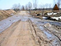 As inundações inundaram a estrada Fotos de Stock Royalty Free