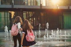 As irmãs andam pela fonte da cidade fotos de stock