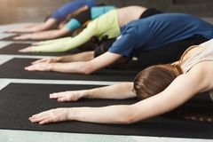As jovens mulheres e os homens na ioga classificam, relaxam a pose da meditação foto de stock royalty free