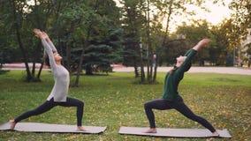 As jovens senhoras magros estão treinando fora no parque que faz a ioga do hatha junto durante pares praticam e que respira o ar  filme