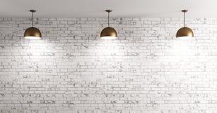 As lâmpadas sobre o fundo interior 3d da parede de tijolo rendem Imagem de Stock
