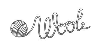 As lãs simbolizam com com a bola do fio Etiqueta para feito à mão, a confecção de malhas ou a loja do alfaiate Foto de Stock Royalty Free