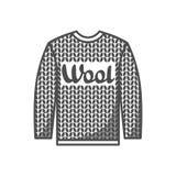 As lãs simbolizam com camiseta feita malha Etiqueta para feito à mão, a confecção de malhas ou a loja do alfaiate Imagens de Stock Royalty Free