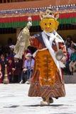 As Lamas tibetanas vestiram-se no mistério místico de Tsam da dança da máscara a tempo do festival budista em Hemis Gompa, Ladakh Fotografia de Stock Royalty Free