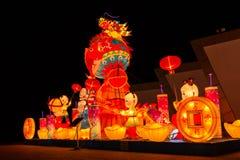 As lanternas coloridas na noite Foto de Stock Royalty Free