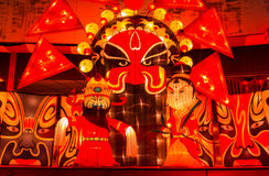 As lanternas coloridas na noite Imagens de Stock