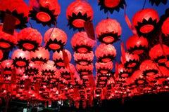 As lanternas no templo de Bongeunsa Imagem de Stock