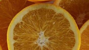 As laranjas cortaram ao meio para o suco vídeos de arquivo