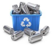 As latas da bebida no azul reciclam a caixa ilustração royalty free