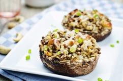 As lentilhas verdes, arroz integral, caju encheram o portobello imagem de stock