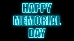 As letras ardentes do Memorial Day feliz text no preto, 3d rendem o fundo, computador que gera pelos feriados festivos Fotos de Stock