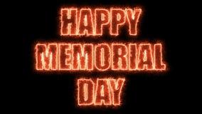 As letras ardentes do Memorial Day feliz text no preto, 3d rendem o fundo, computador que gera pelos feriados festivos Imagem de Stock Royalty Free