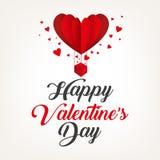 As letras caligráficas para o dia do ` s do Valentim text com ballon do ar Fotografia de Stock