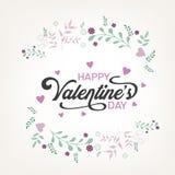 As letras caligráficas para o dia do ` s do Valentim text com coração e seta Foto de Stock Royalty Free