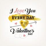 As letras caligráficas para o dia do ` s do Valentim text com coração e seta Imagens de Stock Royalty Free
