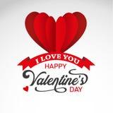 As letras caligráficas para o dia do ` s do Valentim text com corações e a fita vermelhos Foto de Stock