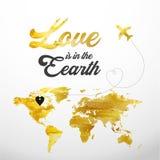 As letras caligráficas para o dia do ` s do Valentim text com o mapa e o avião da terra do ouro Imagem de Stock