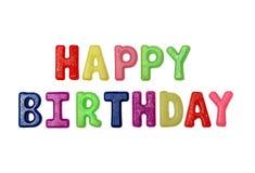 As letras coloridos do feliz aniversario da inscrição isolam-se no fundo branco fotos de stock royalty free
