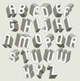 As letras 3d corajosas e pesadas ajustaram-se, fonte de vetor dimensional ilustração do vetor