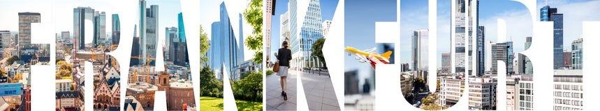 As letras de FRANCOFORTE encheram-se com as imagens da cidade de Francoforte fotos de stock royalty free