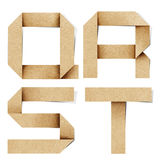As letras do alfabeto de Origami recicl o ofício de papel foto de stock royalty free