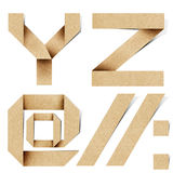 As letras do alfabeto de Origami recicl o ofício de papel imagem de stock royalty free
