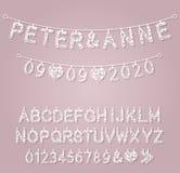 As letras do alfabeto para fazer bandeiras do casamento, cumprimentos, decorações e ocasiões especiais ilustração stock